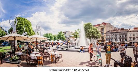 LVIV, UKRAINE - JULY 29, 2017: Lviv city view near Opera house