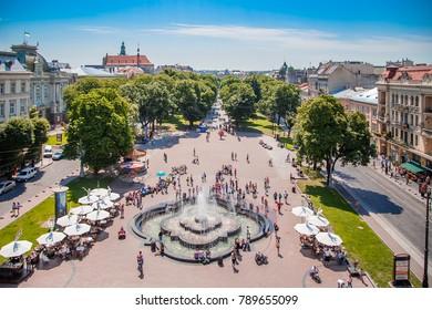 LVIV, UKRAINE - JULY 29, 2017: Lviv city view from Opera house