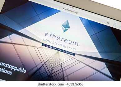 LVIV, UKRAINE - Jun 06, 2016: tablet pc with etherium main page site on screen, etherium is a second coin in crypto-currency market capitalizations in world