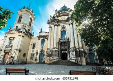 LVIV, UKRAINE - JUNE 02, 2017 : Dominican cathedral in Lviv, Old Town, June 02, 2017, Ukraine.
