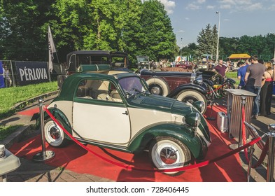 LVIV, UKRAINE - JUNE 04 , 2016 old vintage retro cars in a row on Leopolis Grand Prix.