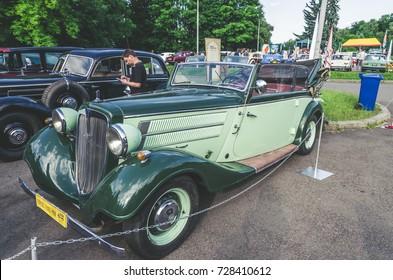 LVIV, UKRAINE - JUNE 04 , 2016 Luxury old vintage retro car Audi on Leopolis Grand Prix.