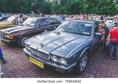 LVIV, UKRAINE - JUNE 04 , 2016 Luxury old vintage retro car Jaguar on Leopolis Grand Prix.