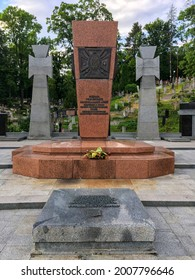 LVIV, UKRAINE - JUNE 04, 2019: Memorial cross at the burial place of the OUN-UPA fighters and the repressed at the Lychakiv cemetery in Lviv