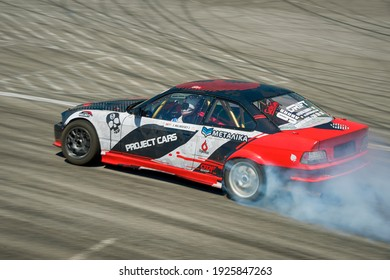 Lviv, Ukraine - June 10, 2017: Unknown rider on the car brand BMW overcomes the track in the championship of Ukraine drifting in Lviv, Ukraine.