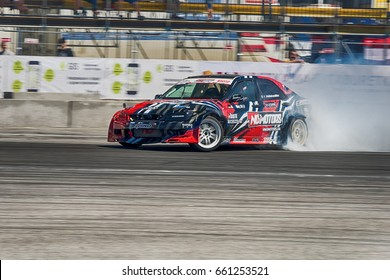 Lviv, Ukraine - June 10, 2017: Unknown rider on the car brand Honda overcomes the track in the championship of Ukraine drifting in Lviv, Ukraine.