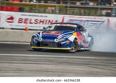 Lviv, Ukraine - June 10, 2017: Unknown rider on the car brand Nissan overcomes the track in the championship of Ukraine drifting in Lviv, Ukraine.