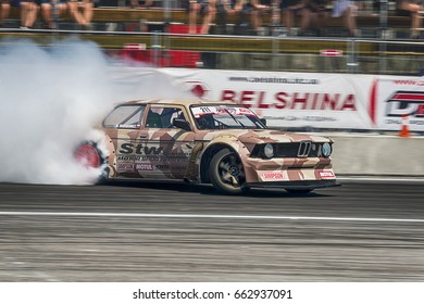 Lviv, Ukraine - June 10, 2017: Pilot Marek Wartalowicz on the car brand BMW overcomes the track in the championship of Ukraine drifting in Lviv, Ukraine.