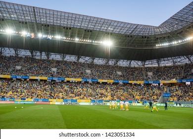 Lviv, Ukraine - June 10, 2019: Arena Lviv before the match of Euro 2020 Ukraine vs Luxemburg. Sport lighting on stadium.