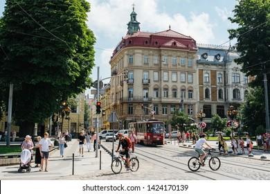 Lviv, Ukraine - June 10, 2019: Lviv or Lemberg old city of Ukraine. Old buildings and other street architecture.