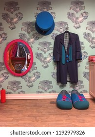 LVIV, UKRAINE - JUNE 11:  Clown clothes - frock coat, shoes, top hat and mirror in the children's store of a shopping center in Lviv on June 11, 2018 in Lvov, Ukraine