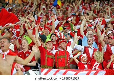 LVIV, UKRAINE - JUNE 17, 2012: Danish football supporters show their support during the UEFA EURO 2012 game Germany v Denmark at Lviv Arena in Lviv