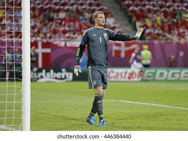 LVIV, UKRAINE - JUNE 17, 2012: Goalkeeper Manuel Neuer of Germany in action during UEFA EURO 2012 game against Denmark at Lviv Arena in Lviv, Ukraine