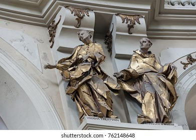 LVIV, UKRAINE - JUNE 19, 2017: Statues, the interior of St. Eucharist Church, the former Dominican Church in Lviv, Ukraine at the 19th of June 2017