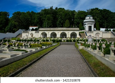Lviv, Ukraine - june 2, 2019:  Cemetery of the Lwów Eaglets, part of the Lychakiv Cemetery. It's the oldest historic necropolis of Lviv.