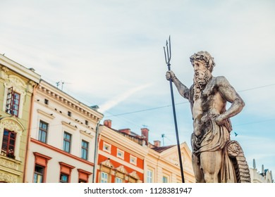 Lviv, Ukraine - June 20, 2018: Neptune fountain on Market square in Lviv