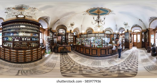 Lviv, Ukraine - June 2014: Full 360 degrees panorama in equirectangular equidistant spherical projection of The oldest pharmacy. VR content