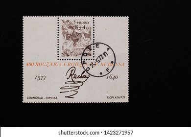 Lviv, Ukraine - June, 2019:  a post stamp printed in POLAND shows a signature of artist Peter Paul Rubens, devoted to the 400th Anniversary of the Birth of Peter Paul Rubens, circa 1977