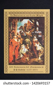 "Lviv, Ukraine - June, 2019: A stamp printed in Cuba shows painting by Peter Paul Rubens ""Adoration of Magy"", circa 1977, devoted to the 400th Anniversary of the Birth of Peter Paul Rubens"