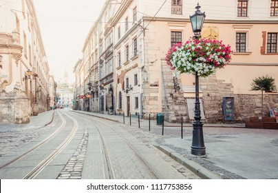 Lviv, Ukraine - June 21, 2018: lantern on Market square in Lviv, Ukraine