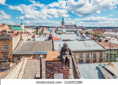 Lviv, Ukraine - June 21, 2018: Monument to sweep in Lviv