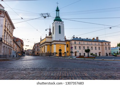 Lviv, Ukraine - June 21, 2018: Johann Georg Pinsel museum of Sacral Baroque Sculpture ( former Poor Clares church)