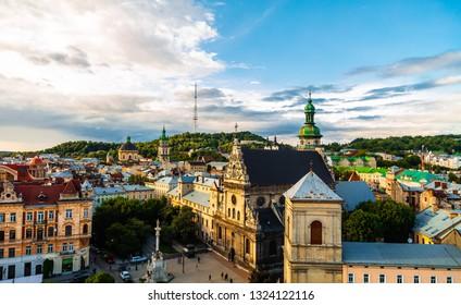 Lviv, Ukraine - June 21, 2018: Lviv panoramic view