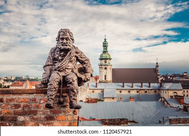 Lviv, Ukraine - June 24, 2018: Monument to sweep in Lviv