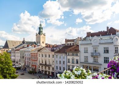 Lviv, Ukraine - June 3, 2019:  Lviv panoramic view from 36 Po restaurant