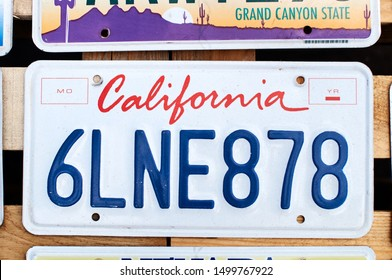 Lviv, Ukraine, June 5, 2016: Old discontinued car license plate or vehicle registration number from California USA state on sale.