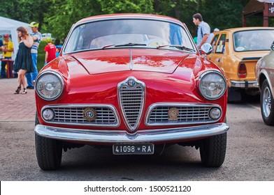 Lviv, Ukraine, June 5, 2016: Front view of vintage red car Alfa Romeo Giulietta Sprint released circa 1955 in Italy.