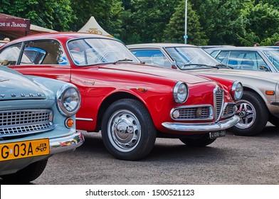 Lviv, Ukraine, June 5, 2016: Vintage red car Alfa Romeo Giulietta Sprint released circa 1955 in Italy.