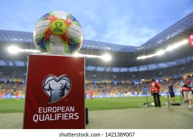 LVIV, UKRAINE - JUNE 7, 2019: Official UEFA EURO 2020 Qualifiers matchball Adidas Conext19 on the pedestal during the UEFA EURO 2020 Qualifying game Ukraine v Serbia at Arena Lviv stadium in Lviv