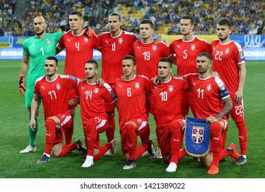 LVIV, UKRAINE - JUNE 7, 2019: Players of Serbia National Team pose for a group photo before the UEFA EURO 2020 Qualifying game Ukraine v Serbia at Arena Lviv stadium in Lviv, Ukraine