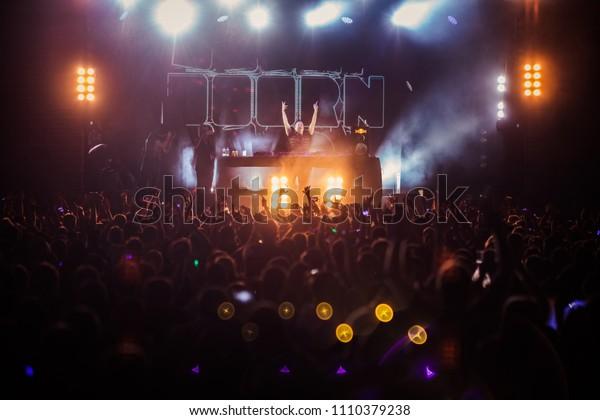 Lviv, Ukraine - June 9, 2018: Sander van Doorn on  Westland Festival 2018 in Lviv Arena Stadium