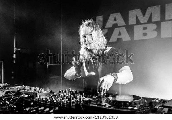 Lviv, Ukraine - June 9, 2018: James Zabiela on Westland Festival 2018 in Lviv Arena Stadium