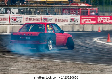 Lviv, Ukraine - Juny 01, 2019: Unknown rider on the car brand BMW overcomes the track in the championship of Ukraine drifting in Lviv.