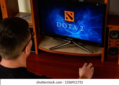 LVIV, UKRAINE - MARCH 08, 2019: Illustration of the game Dota 2, training the player before the championship in the gaming club