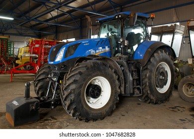 LVIV UKRAINE MARCH 16 2018: Tractor New Holland T7 Series T7.315. Space for text. New Holland Machine Company was founded in 1895 in New Holland, Pennsylvania