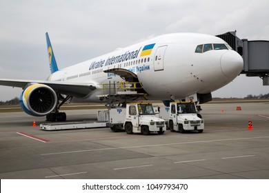 Lviv, Ukraine - MARCH 16, 2018: Ukraine International Airlines Boeing 777. New aircraft in airline's fleet. Ukrainian flag carrier UIA receives Boeing 777.