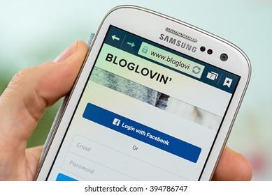 LVIV, UKRAINE - march 21, 2016: Samsung Galaxy with Bloglovin  login page. Login with Facebook accounts.