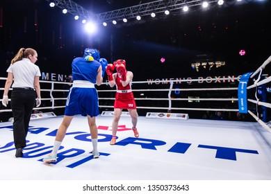 Lviv, Ukraine - March 22, 2019: Women's Boxing League. United Lions team Ukrainian Lionesses vs. Polish national team