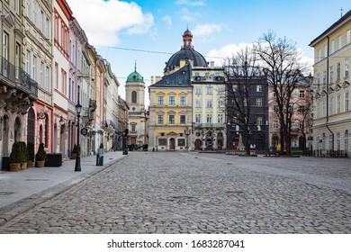 Lviv, Ukraine - March 22, 2020: Empty Lviv streets during COVID-19 Quarantine. Market square in Lviv