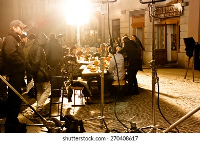 LVIV, UKRAINE - MARCH 23: Shooting a video for the advertising of Lvov beer 1715. Shooting public, on the street on March 23, 2015 in Lviv.