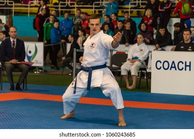 Lviv , Ukraine - March 25, 2018: International open karate cup . Unknown athlete performs during the competition  in the sports complex of the army,  Lviv, Ukraine.