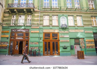 LVIV / UKRAINE - MARCH 28, 2017: Restaurant-post office on Drukarska street. Here the greatest collection of the Lviv cards as one of ways to record city history is collected.