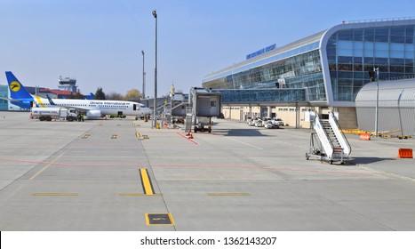 Lviv, Ukraine - March 30, 2019: Airliner of carrier UIA near the passenger terminal of Lviv Danylo Halytskyi International Airport.