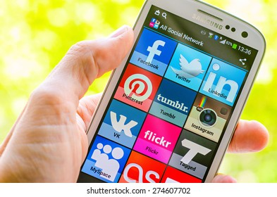 LVIV, UKRAINE - May 03, 2015: White Samsung Smart Phone with   social media applications  on screen