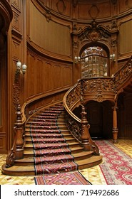 LVIV, UKRAINE - MAY 1: A carved wooden staircase in ancient casino on May 1, 2010 in Lviv, Ukraine