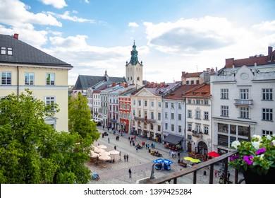 Lviv, Ukraine - May 12, 2019:  Lviv panoramic view from 36 Po restaurant